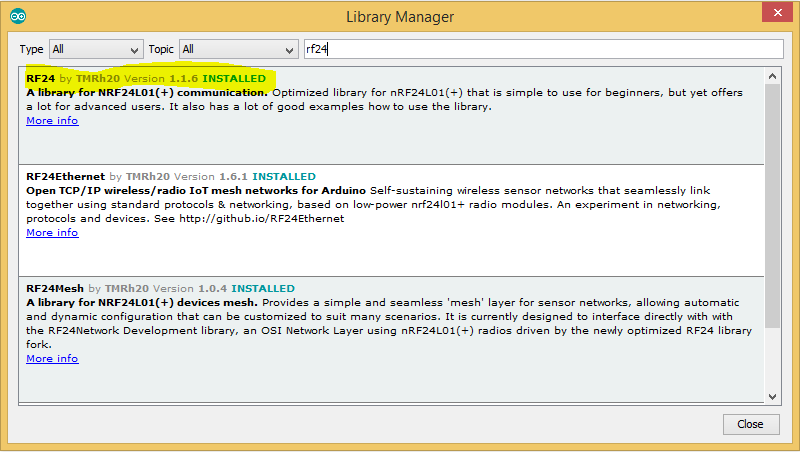 rf24 manage libraries