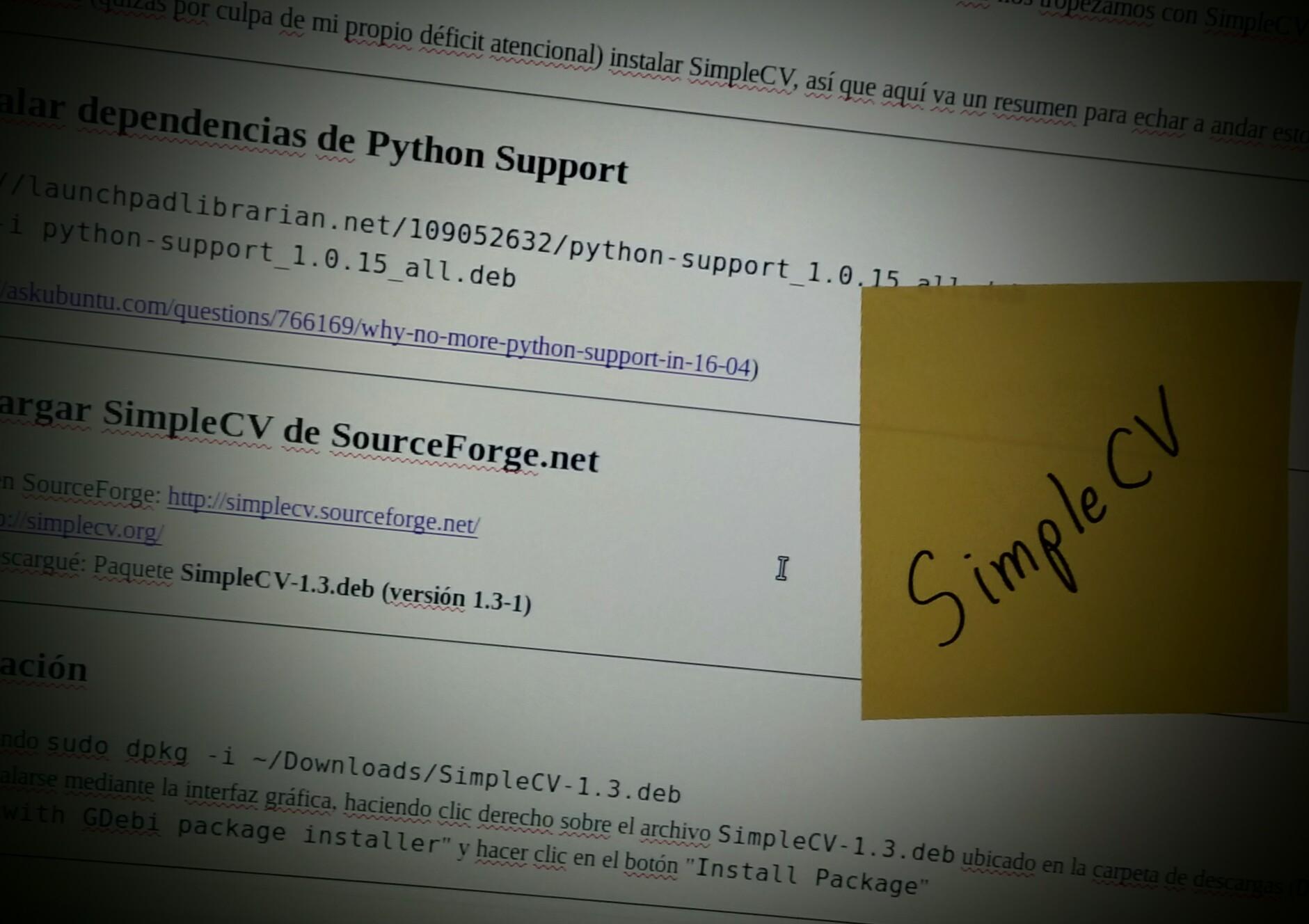 Iniciemos con SimpleCV en 5 minutos en Linux MINT 18 (Ubuntu 16.04)